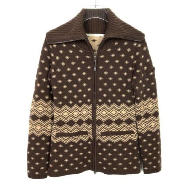 737c524b75 Athleta Wool Blend Teton Full Zip Sweater Brown